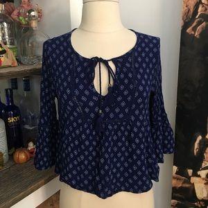 Dark blue peasant blouse